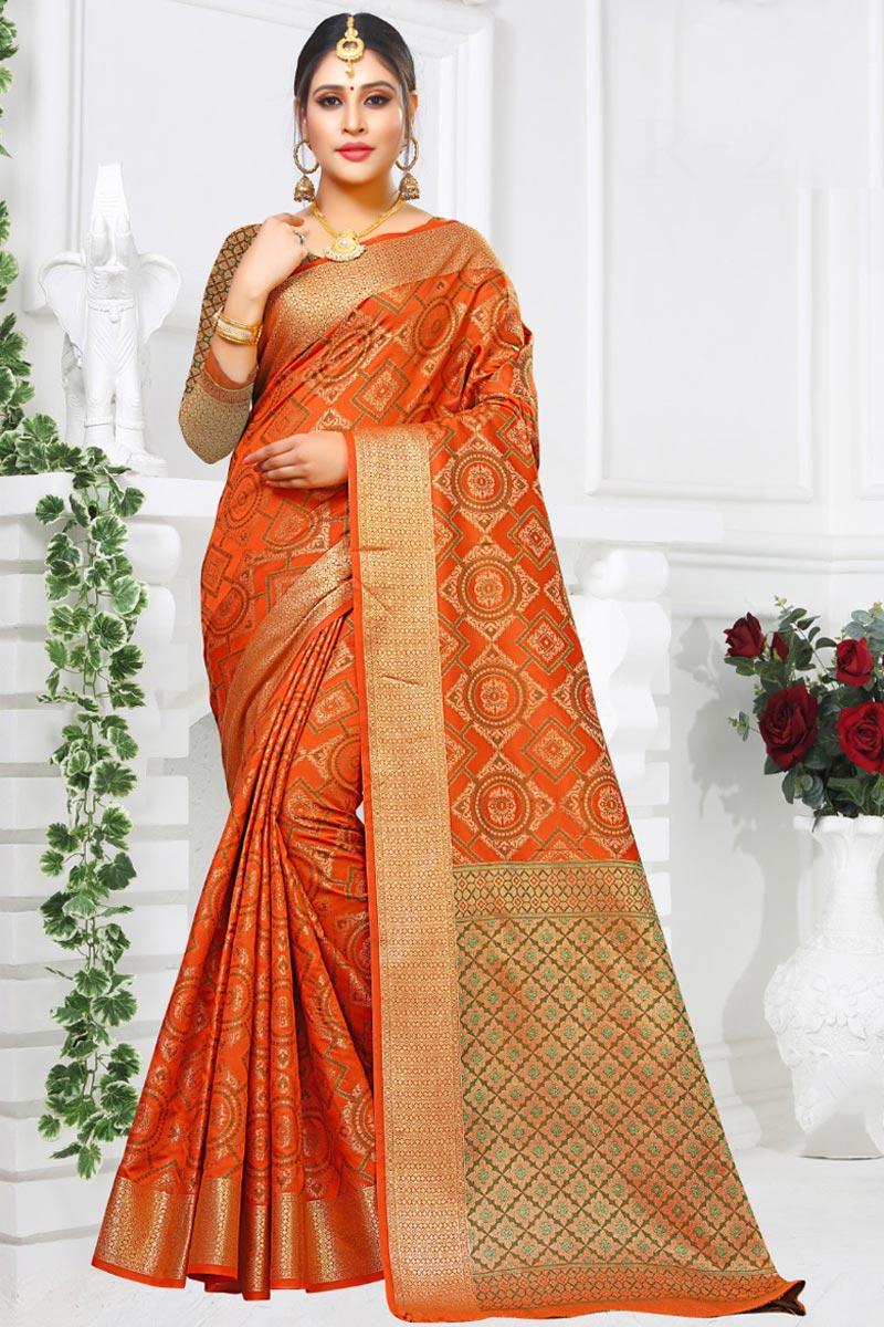 Art Silk Fabric Orange Color Designer Festive Wear Fancy Saree With Weaving Work