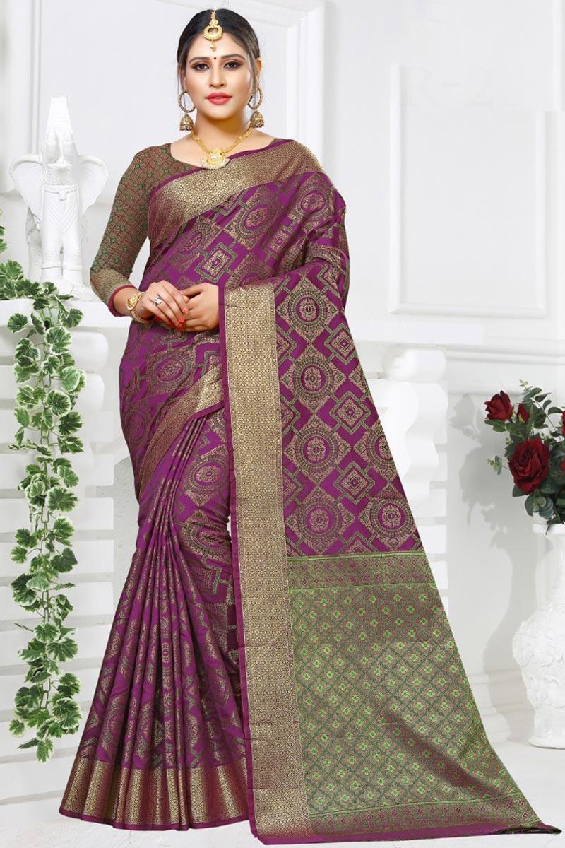Purple Color Fancy Designer Festive Wear Art Silk Fabric Saree With Weaving Work