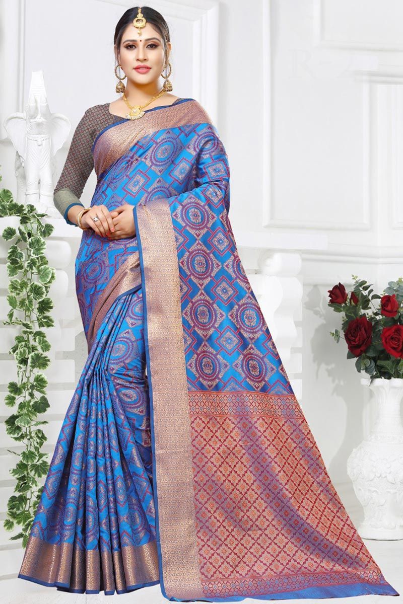 Festive Wear Art Silk Fabric Designer Weaving Work Blue Color Fancy Saree