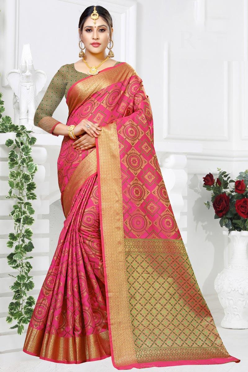Designer Festive Wear Art Silk Fabric Fancy Saree In Pink Color With Weaving Work