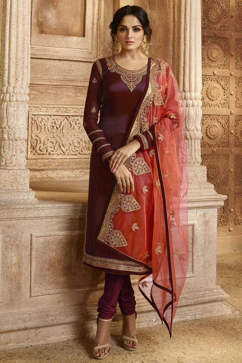 Georgette Maroon Embroidered Function Wear Designer Straight Cut Suit
