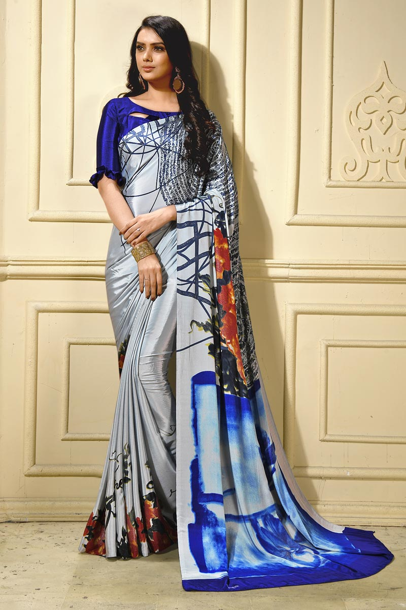 Trendy Casual Wear Crepe Fabric Abstract Printed Saree In Grey
