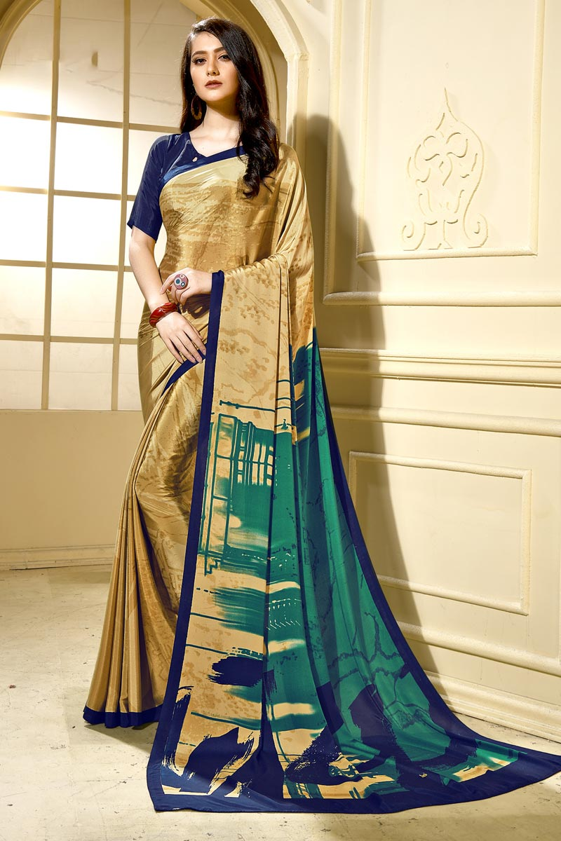 Stylish Beige Casual Wear Abstract Printed Saree In Crepe Fabric
