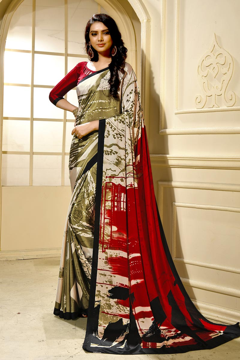 Crepe Fabric Trendy Casual Wear Saree In Beige With Abstract Print