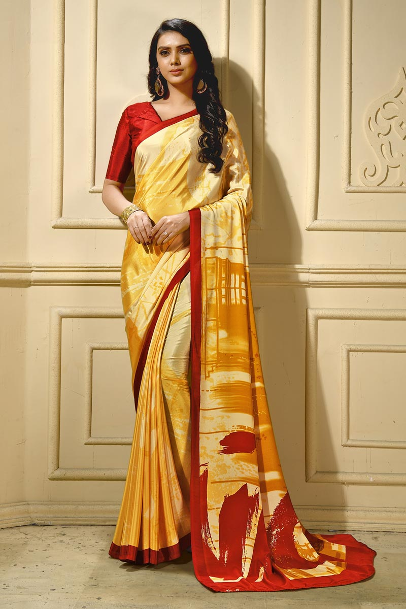 Stylish Casual Wear Yellow Abstract Printed Saree In Crepe Fabric