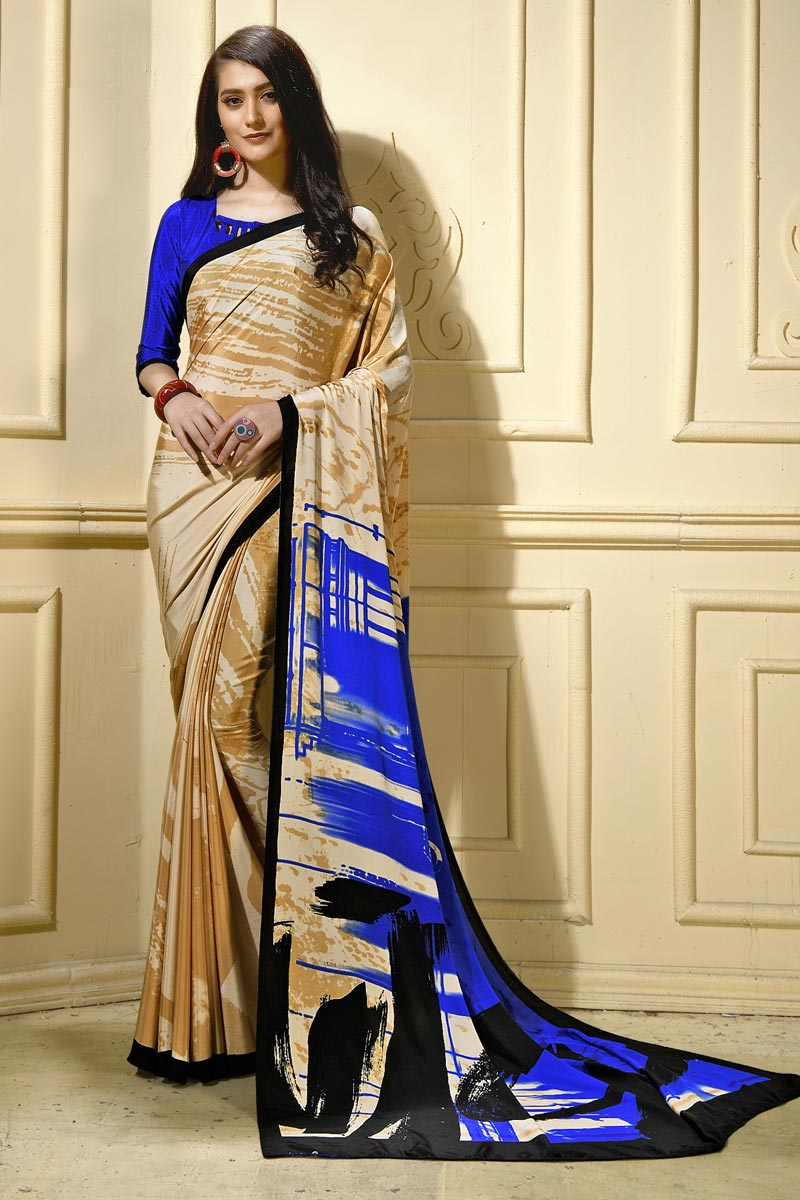 Trendy Casual Wear Crepe Fabric Beige Abstract Printed Saree