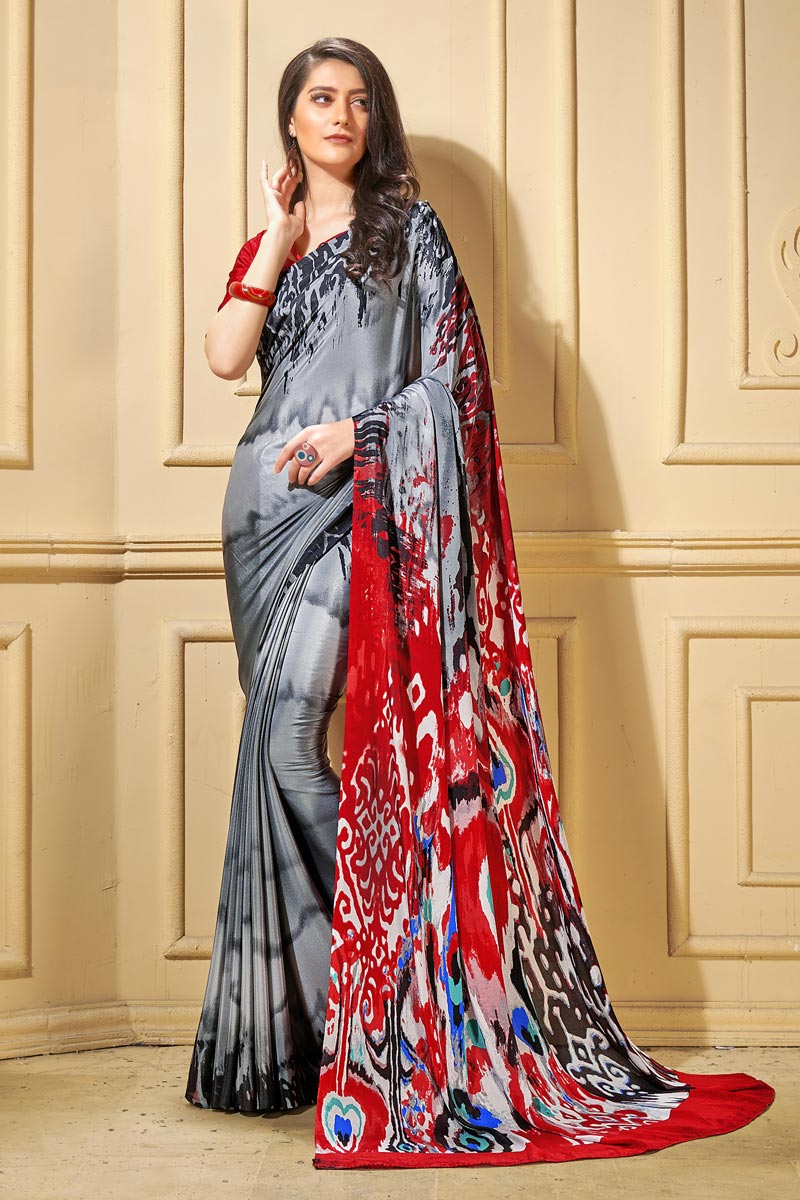 Trendy Casual Wear Grey Abstract Printed Saree In Crepe Fabric