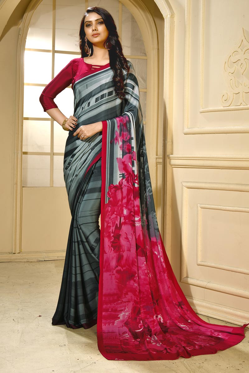 Stylish Crepe Fabric Casual Wear Abstract Printed Saree In Grey