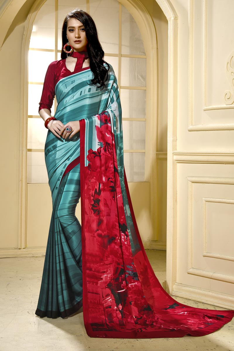 Cyan Trendy Casual Wear Saree In Crepe Fabric With Abstract Print
