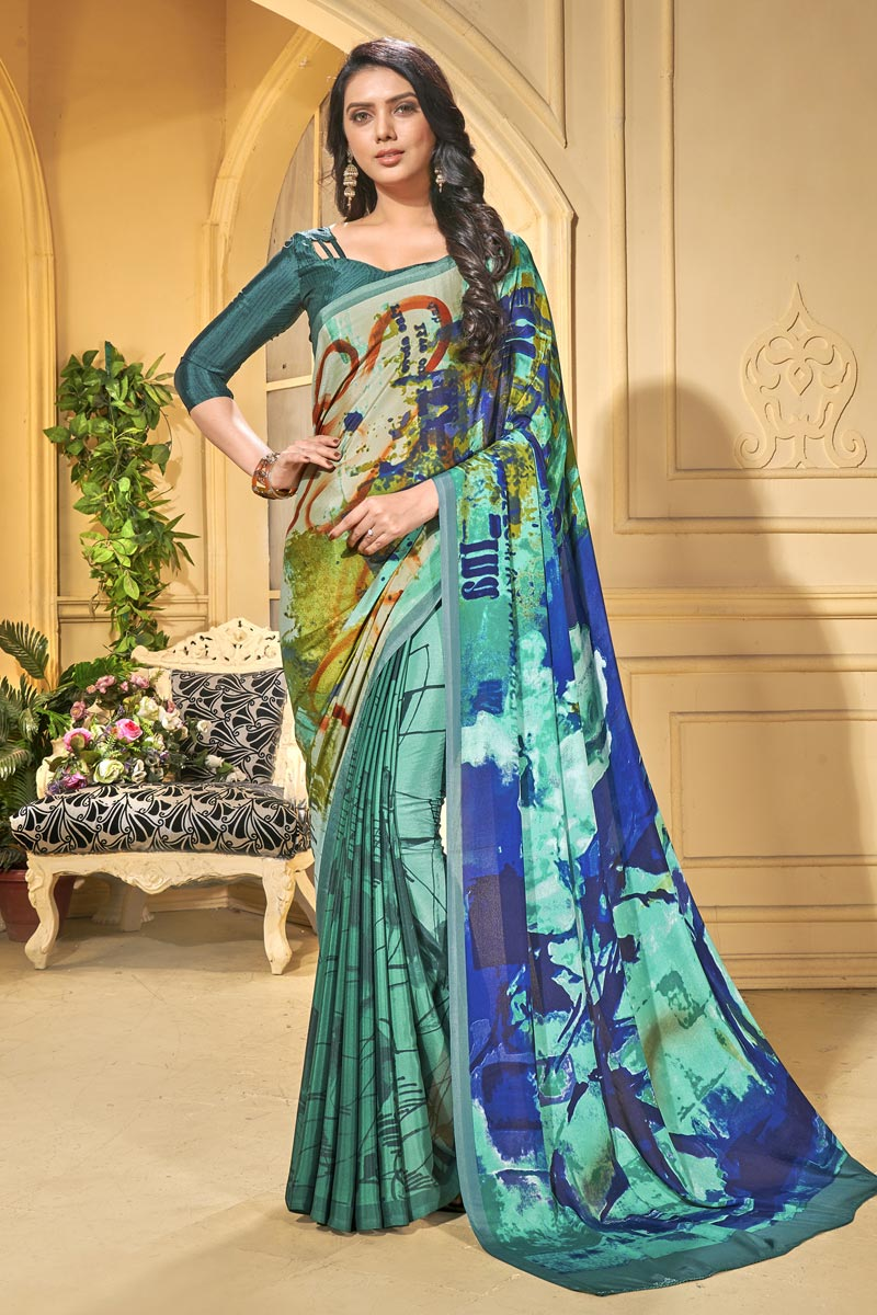 Stylish Casual Wear Crepe Fabric Abstract Printed Saree In Cyan