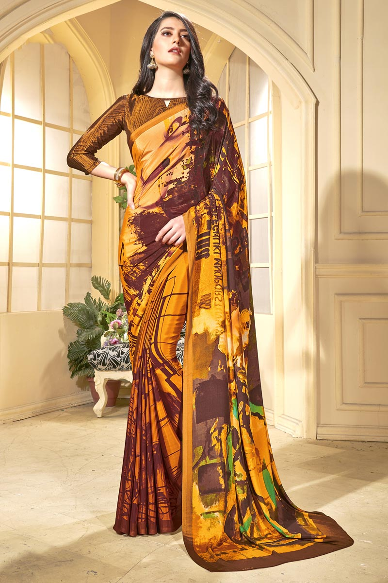 Trendy Casual Wear Mustard Crepe Fabric Abstract Print Saree