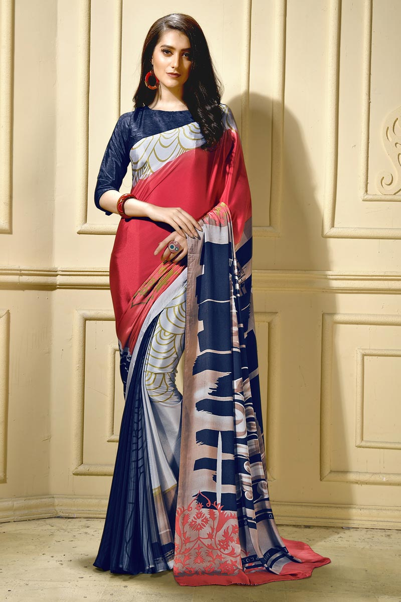 Trendy Casual Wear Crepe Fabric Abstract Print Saree In Navy Blue