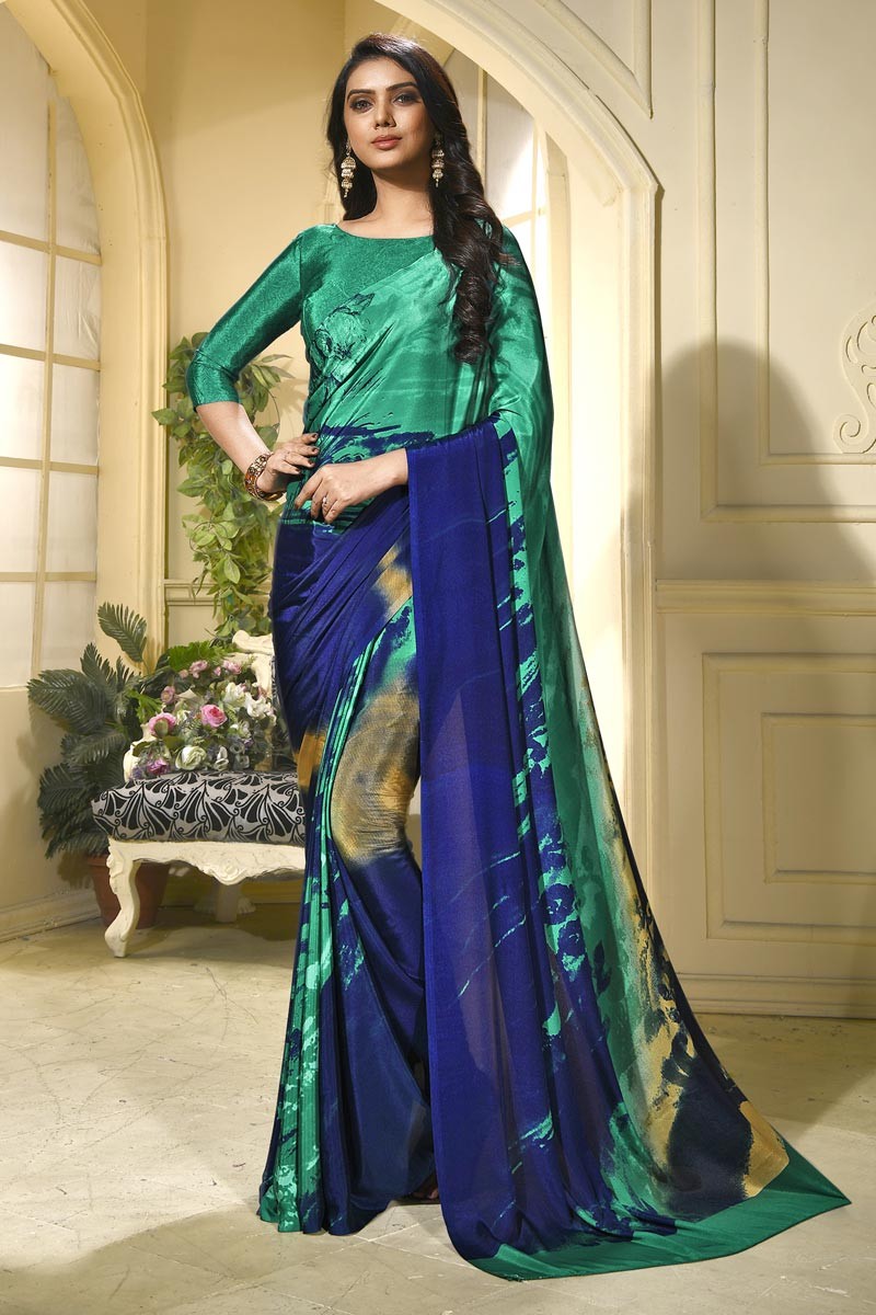 Stylish Cyan Casual Wear Abstract Print Saree In Crepe Fabric