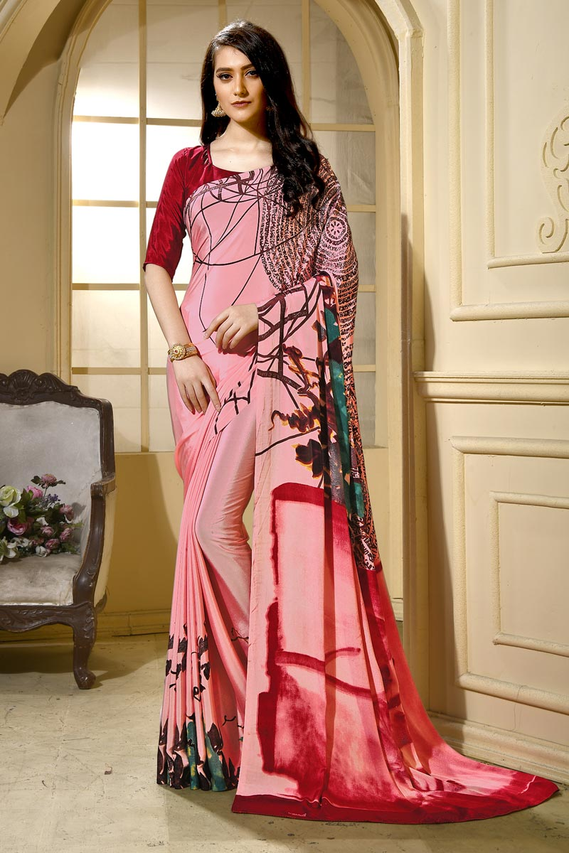 Trendy Casual Wear Crepe Fabric Pink Abstract Print Saree