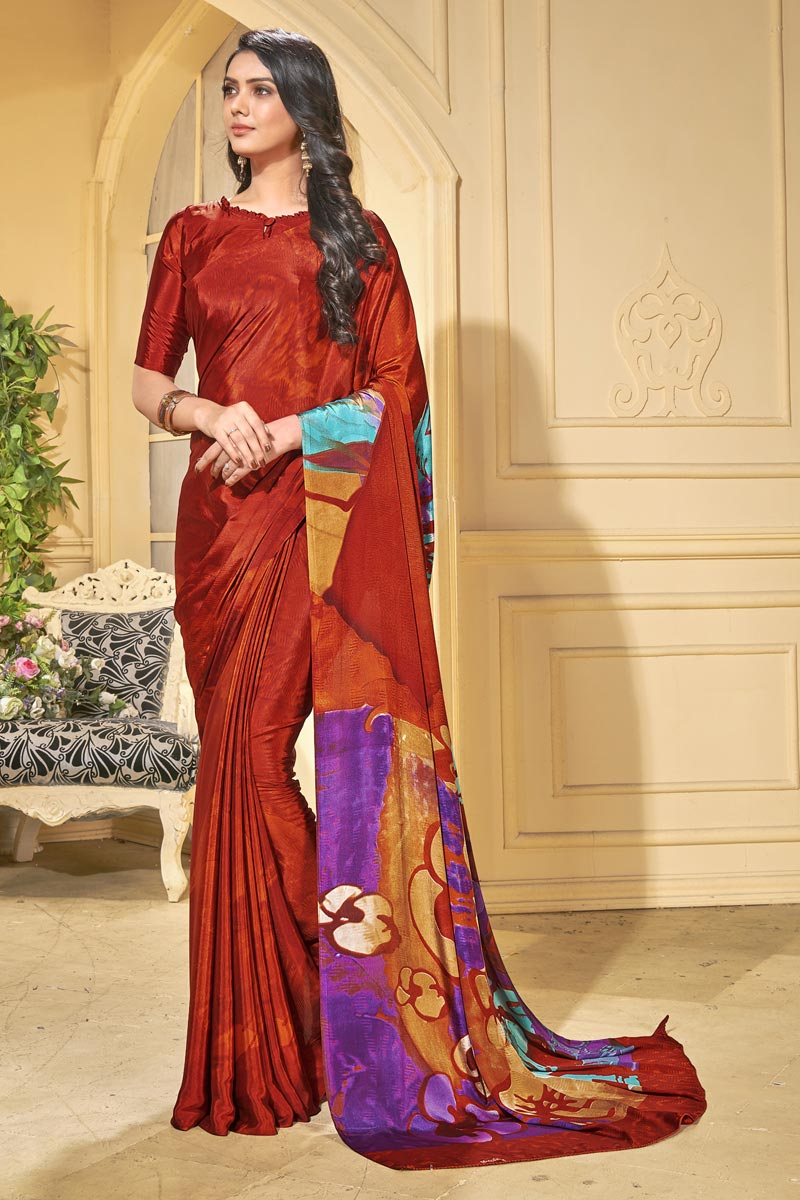 Red Trendy Casual Wear Saree In Crepe Fabric With Abstract Print Work
