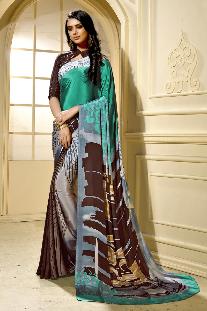 Trendy Casual Wear Grey Crepe Fabric Abstract Printed Saree