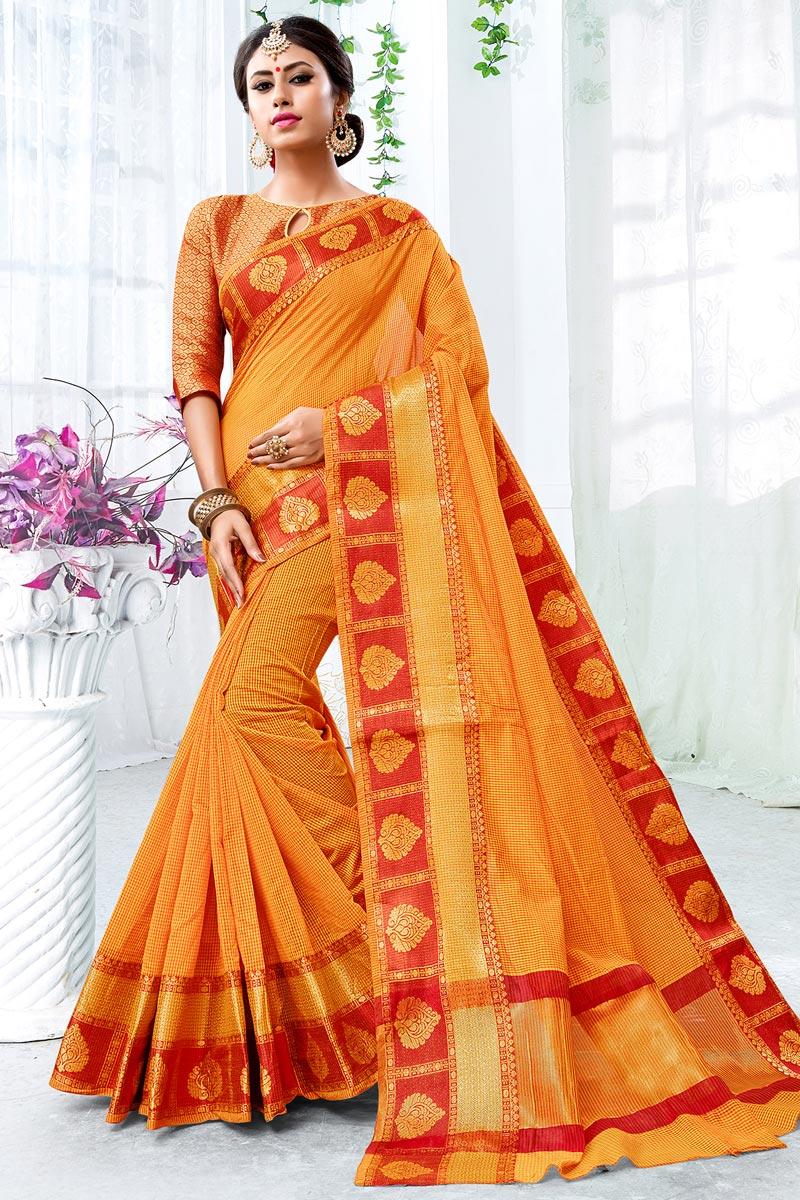 Weaving Work On Chic Cotton Silk Orange Saree