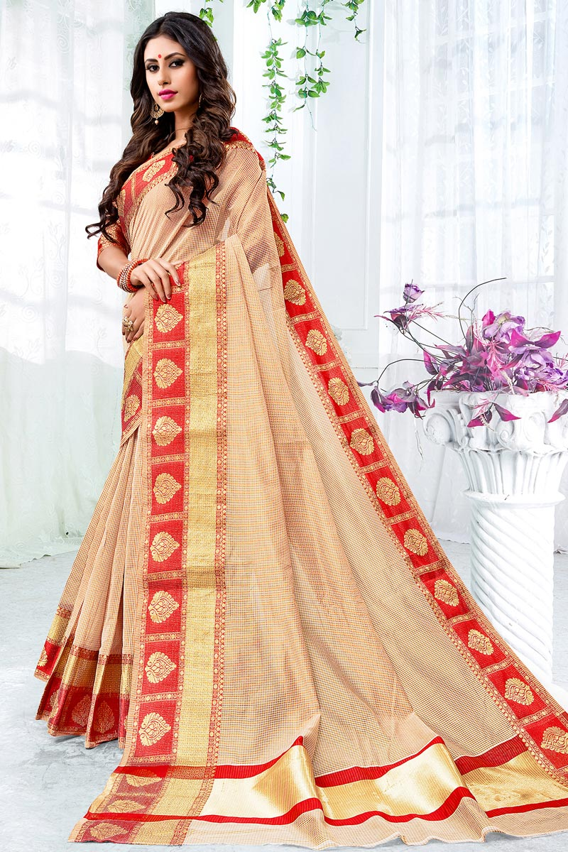 Cotton Silk Chic Beige Saree With Weaving Work