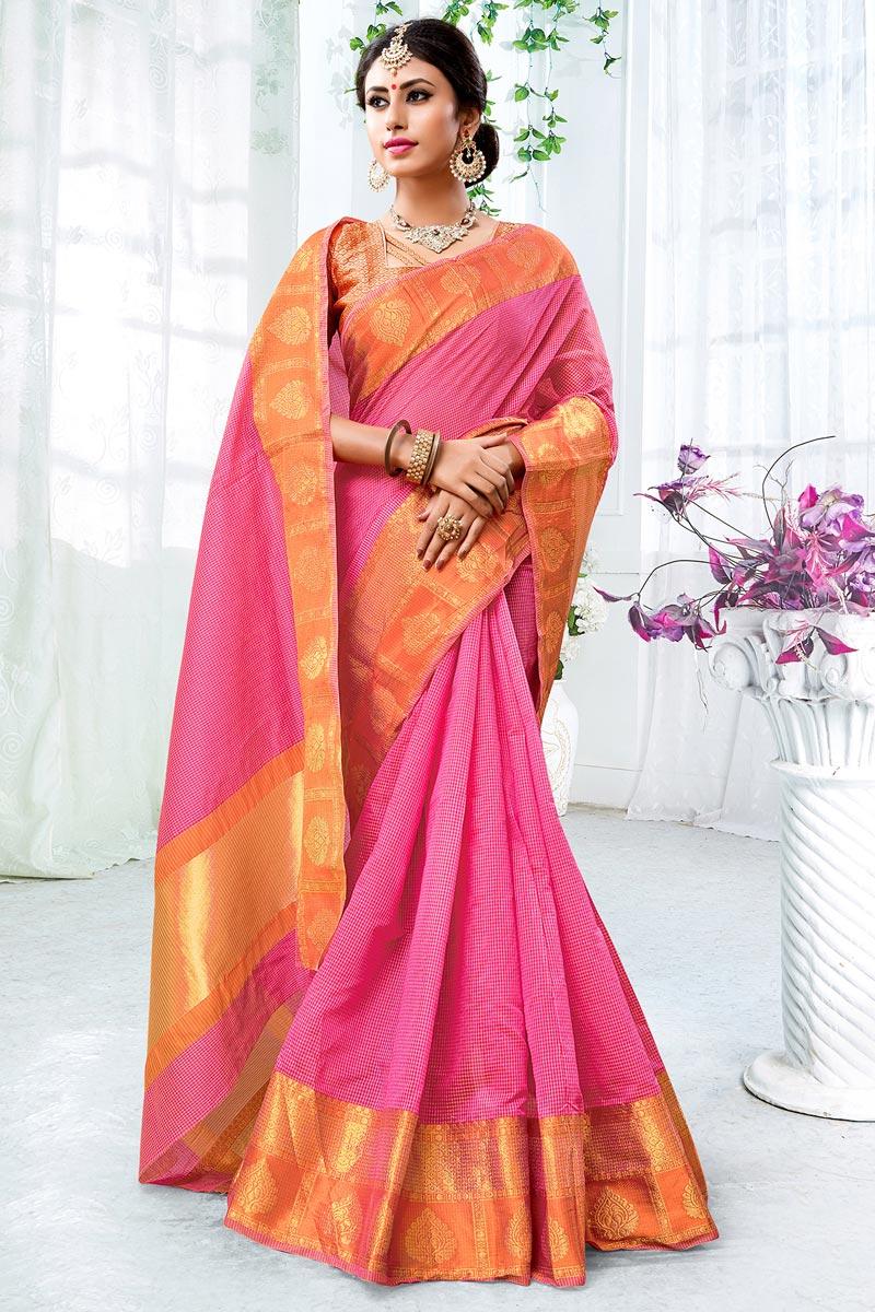 Chic Pink Weaving Work Saree In Cotton Silk