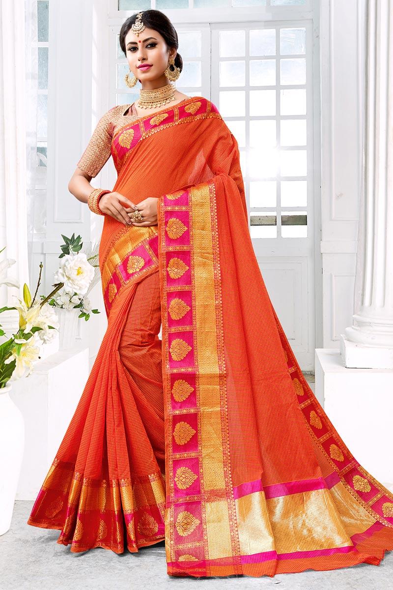 Cotton Silk Chic Orange Saree With Weaving Work