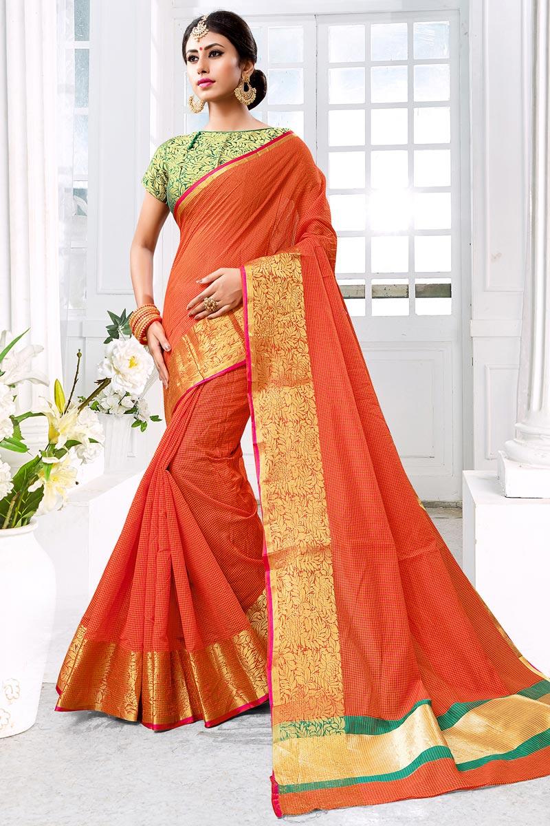 Weaving Work On Chic Orange Cotton Silk Saree