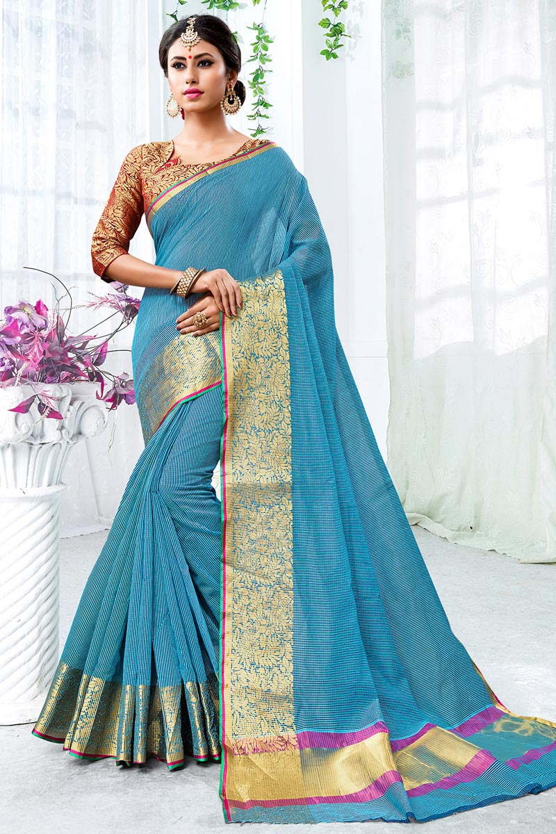 Chic Sky Blue Saree In Cotton Silk With Weaving Work