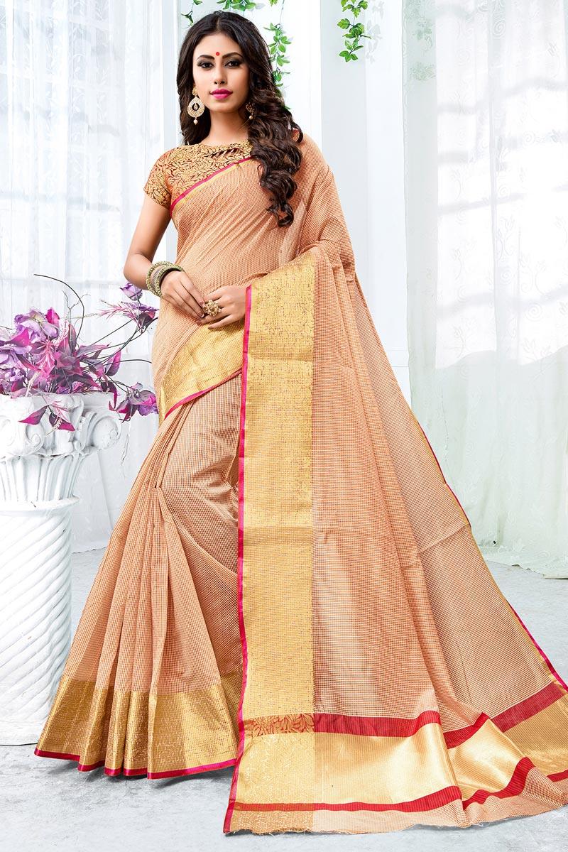 Beige Chic Cotton Silk Saree With Weaving Work