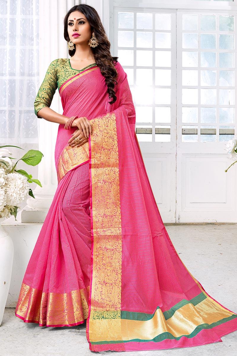 Chic Cotton Silk Weaving Work Saree In Pink