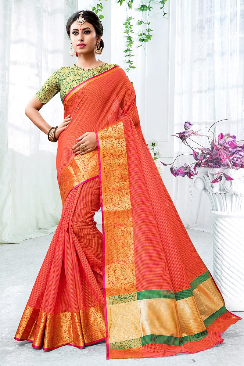 Orange Chic Cotton Silk Saree With Weaving Work