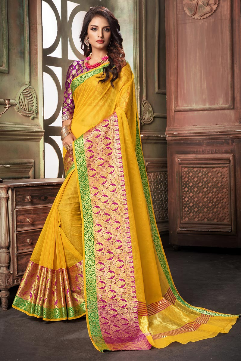 Cotton Silk Fabric Classy Yellow Weaving Work Saree