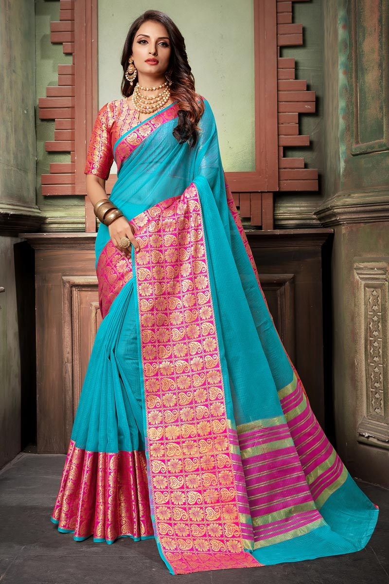 Classy Weaving Work Cotton Silk Fabric Sky Blue Saree
