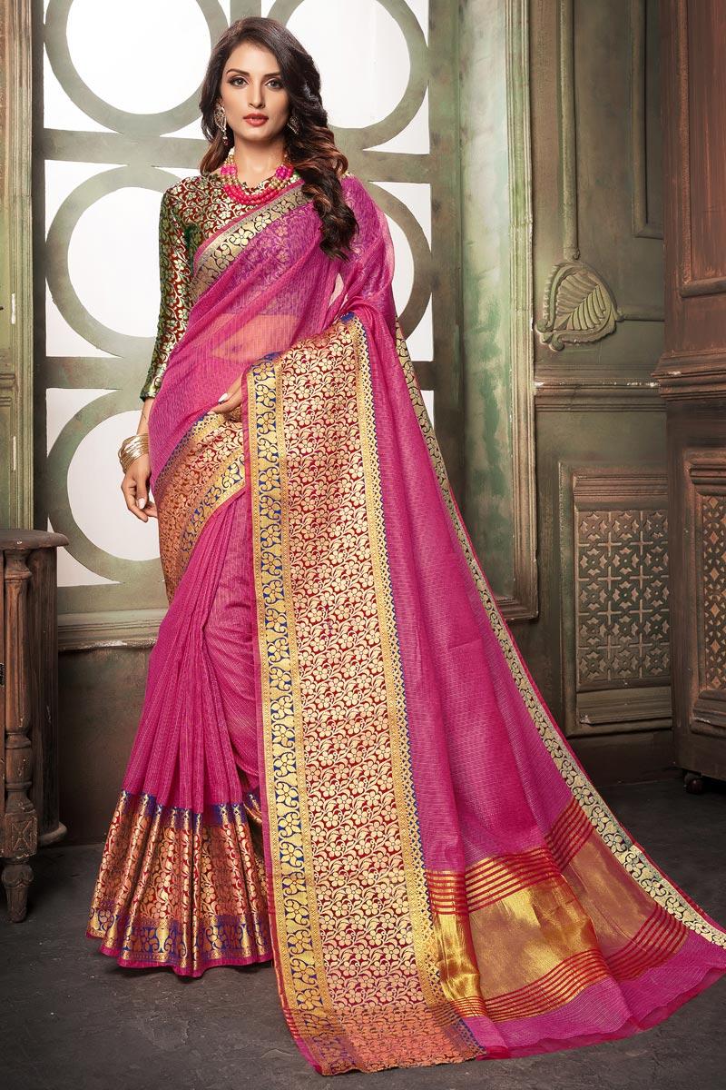 Pink Classy Cotton Silk Fabric Weaving Work Saree