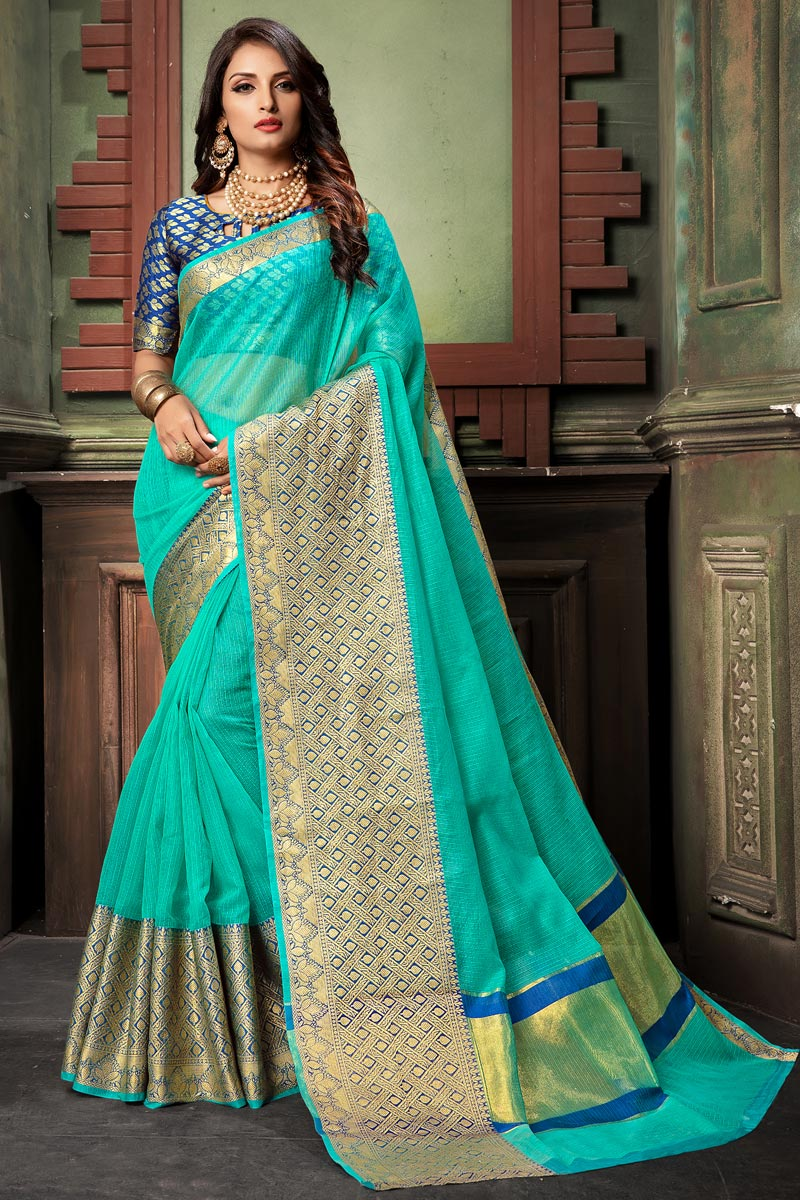 Classy Cyan Cotton Silk Fabric Weaving Work Saree