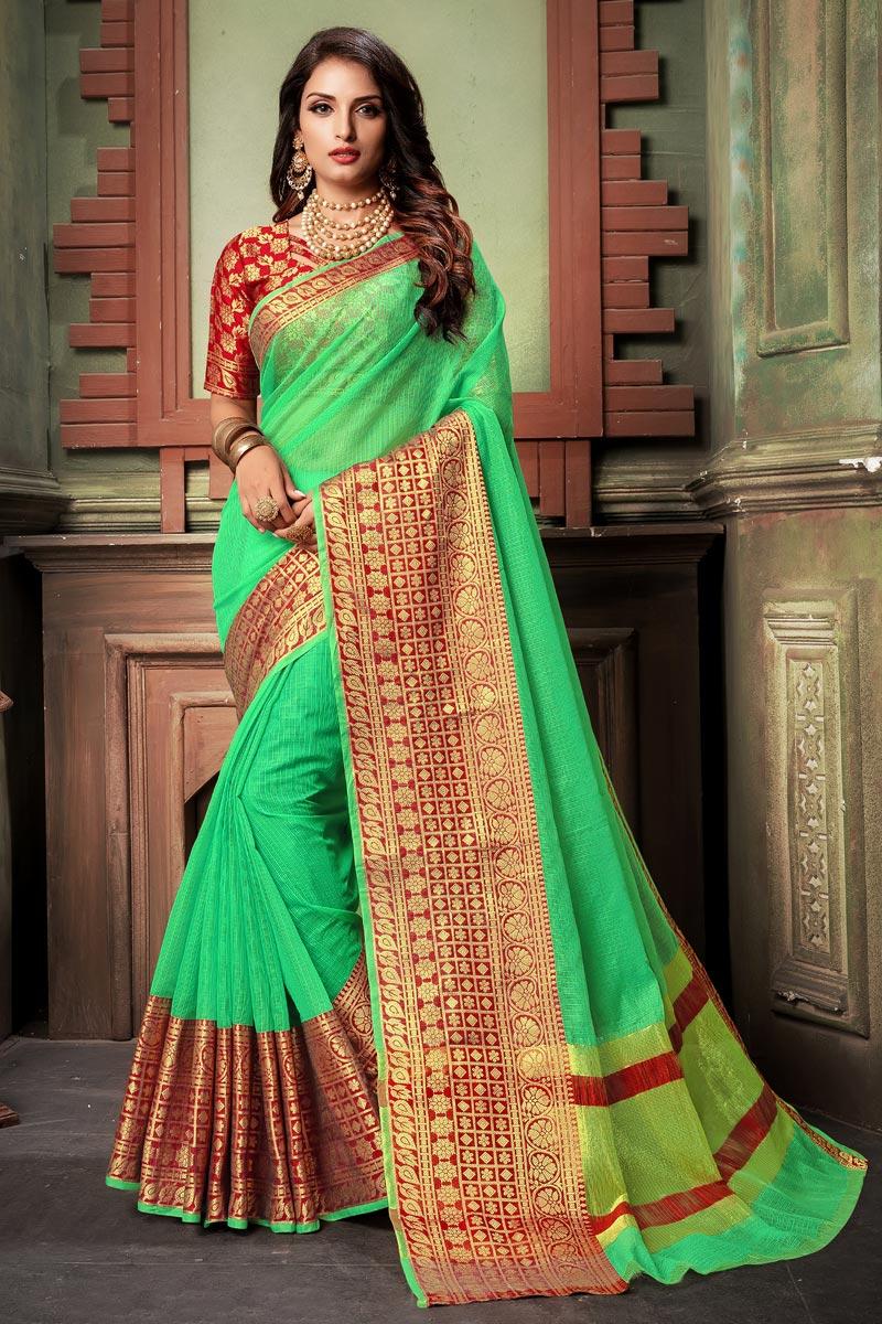 Green Classy Cotton Silk Fabric Weaving Work Saree