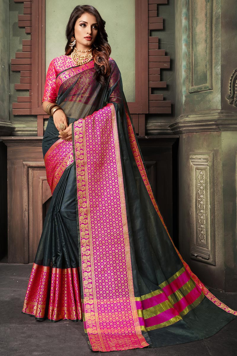 Classy Cotton Silk Fabric Weaving Work Saree In Black