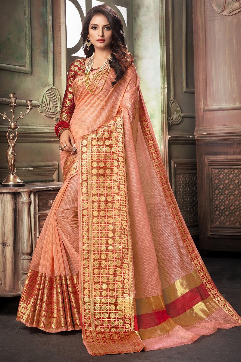 Cotton Silk Fabric Classy Peach Weaving Work Saree