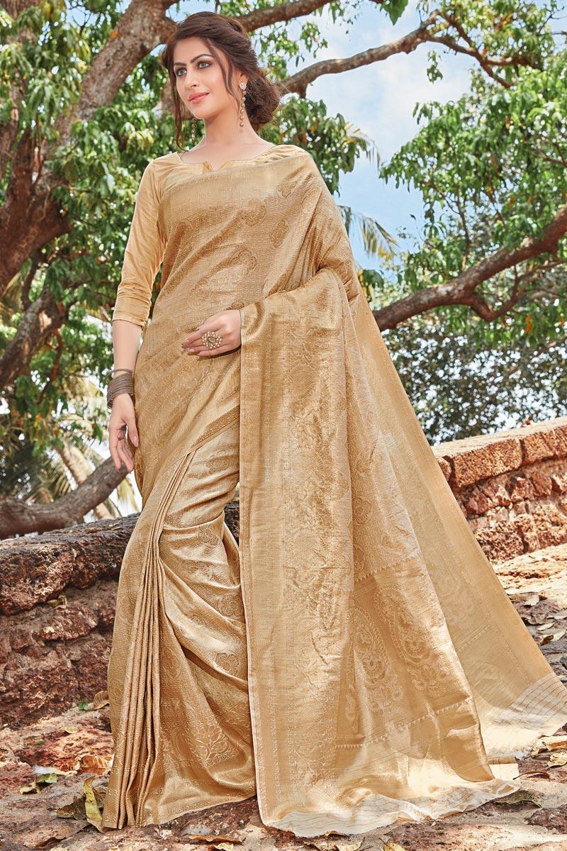 Art Silk Function Wear Designer Fancy Weaving Work Saree In Beige