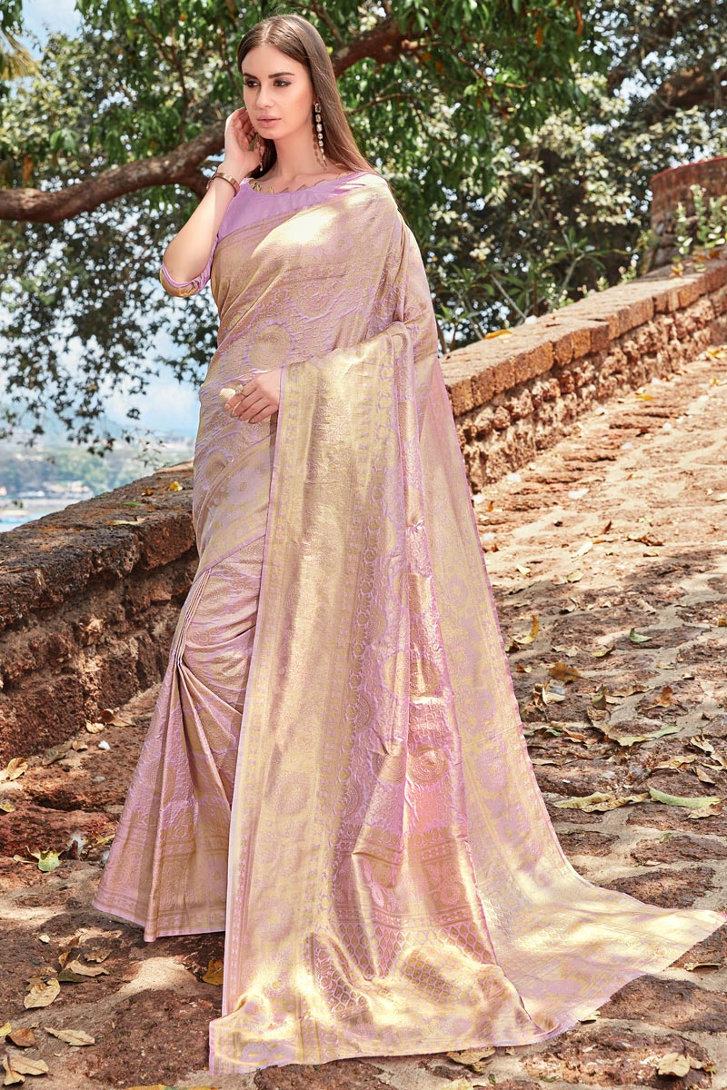 Fancy Weaving Work Lavender Color Function Wear Designer Art Silk Saree