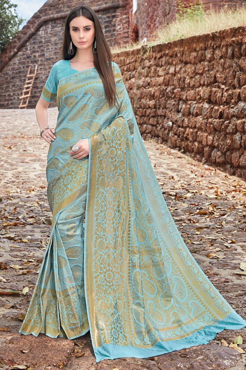 Art Silk Function Wear Designer Cyan Fancy Weaving Work Saree