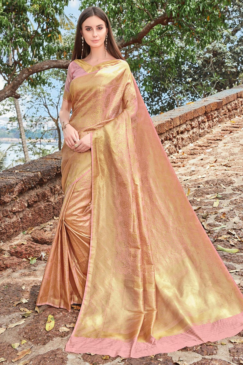 Function Wear Designer Pink Fancy Weaving Work Saree In Art Silk