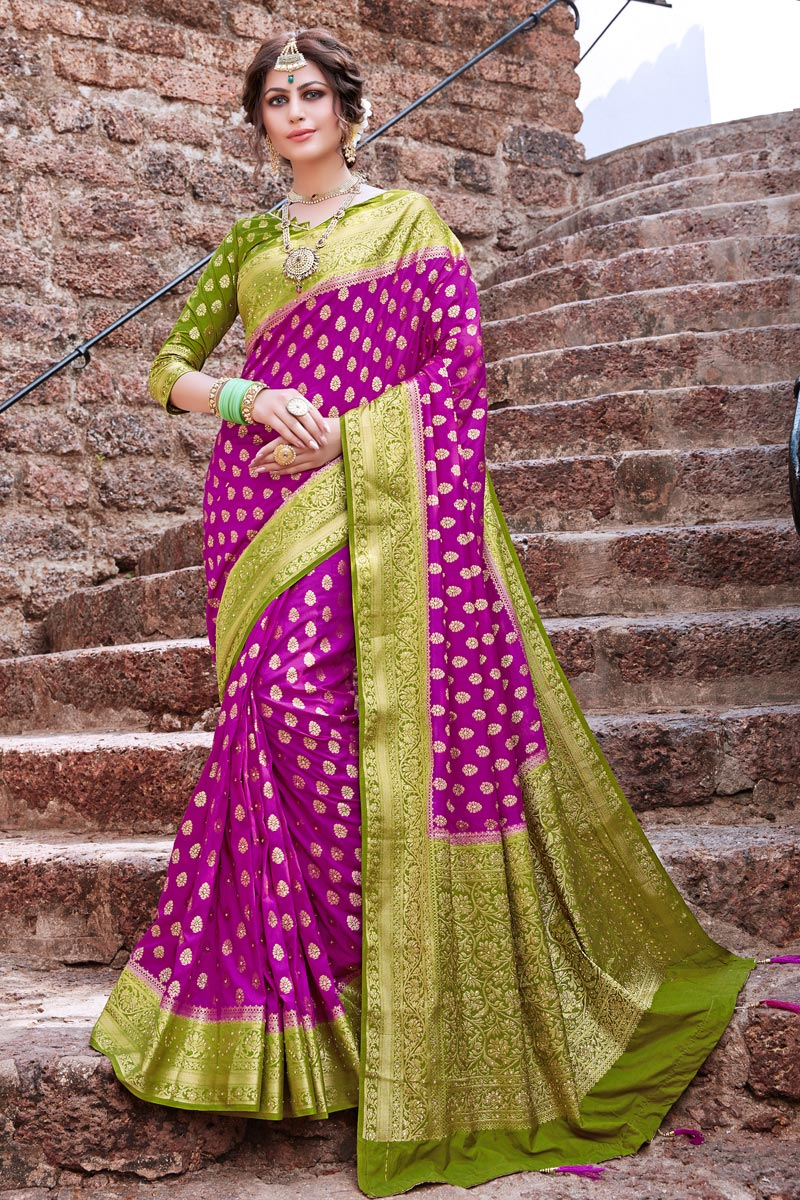 Art Silk Magenta Color Trendy Weaving Work Sangeet Wear Saree