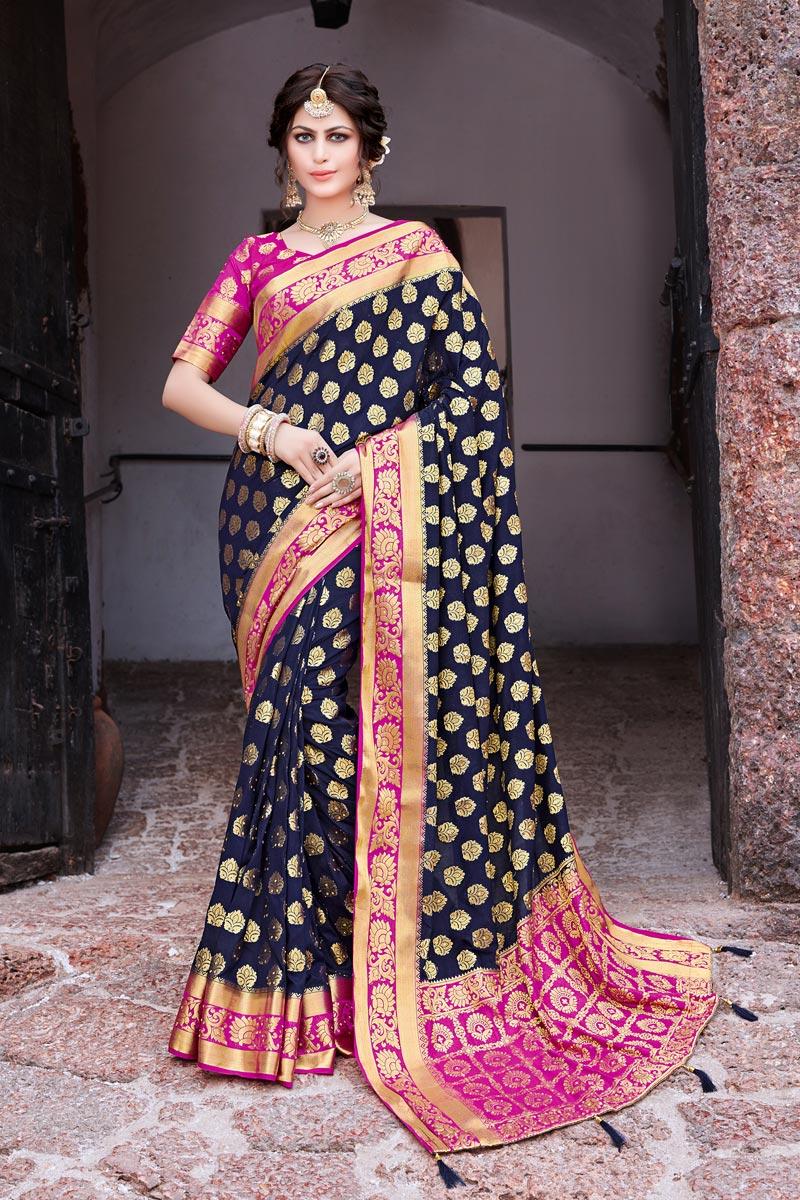 Sangeet Wear Art Silk Navy Blue Color Trendy Weaving Work Saree