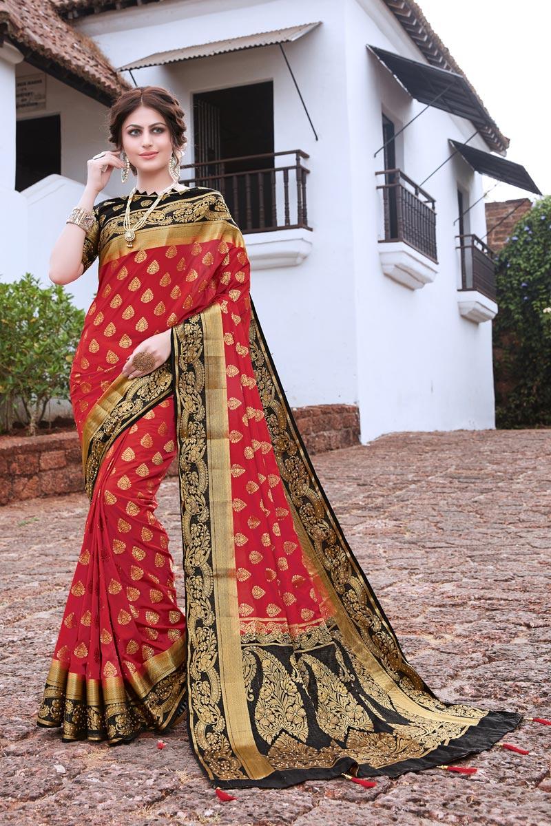 Art Silk Sangeet Wear Trendy Weaving Work Saree In Red Color