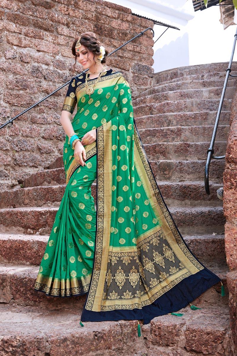 Trendy Weaving Work Green Color Sangeet Wear Art Silk Saree