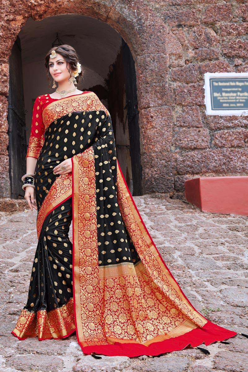 Sangeet Wear Art Silk Trendy Weaving Work Saree In Black Color