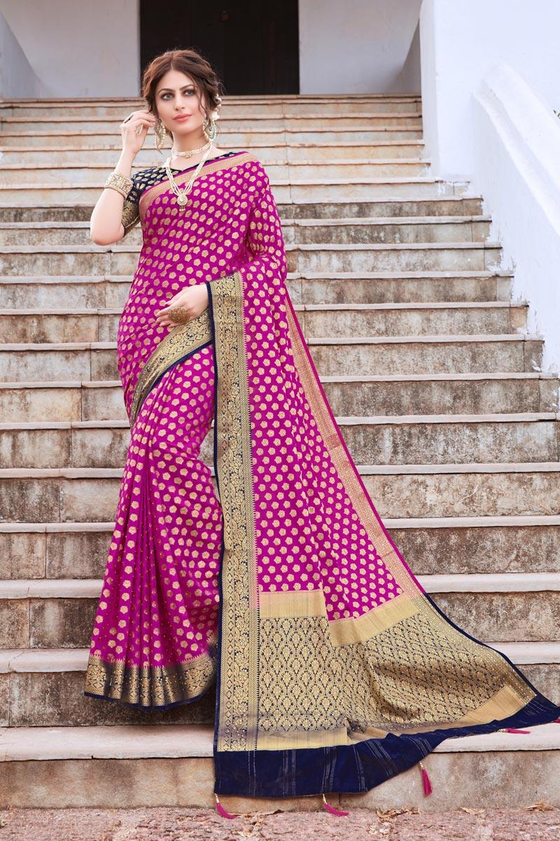 Magenta Color Art Silk Trendy Weaving Work Sangeet Wear Saree