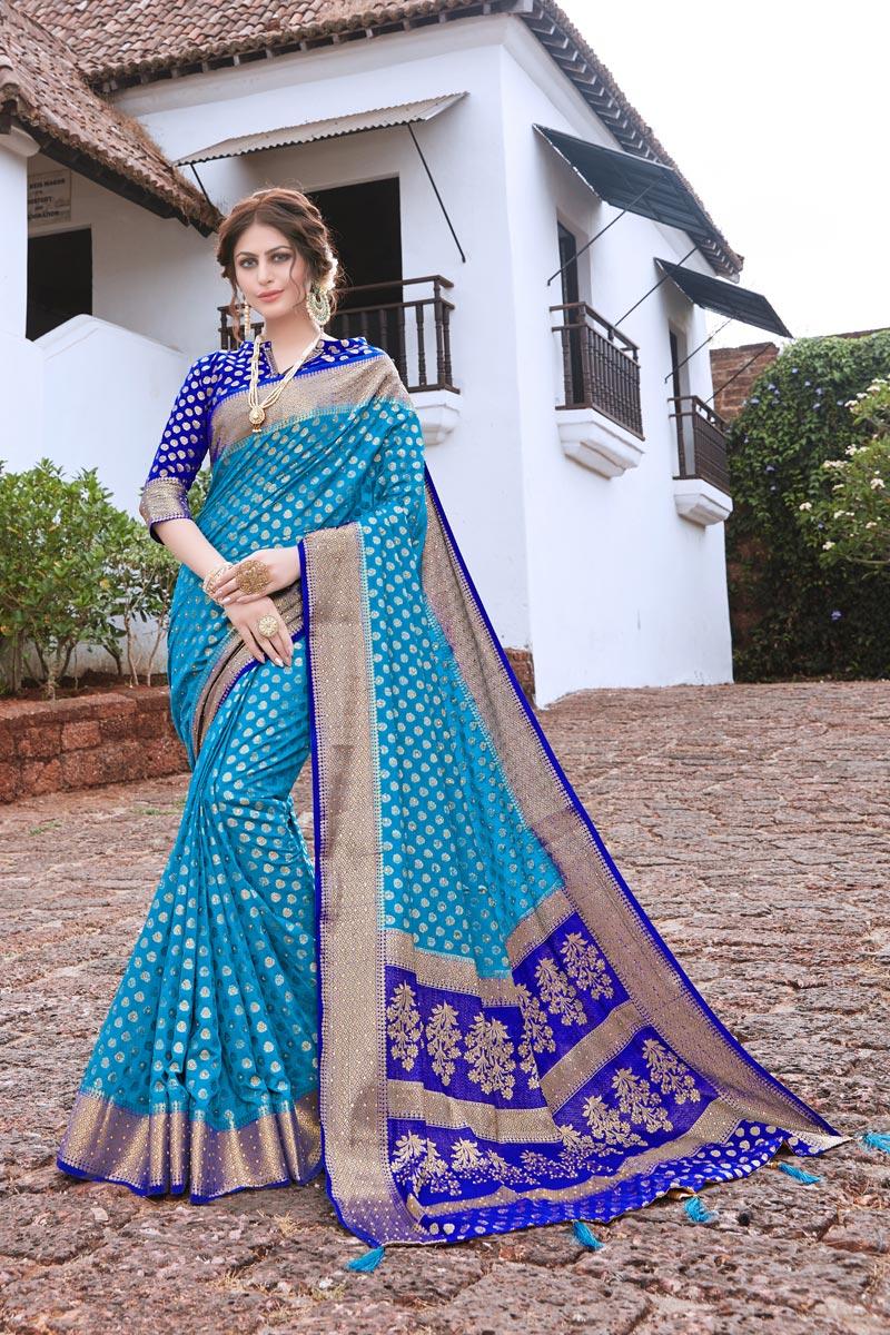Sangeet Wear Sky Blue Color Art Silk Trendy Weaving Work Saree