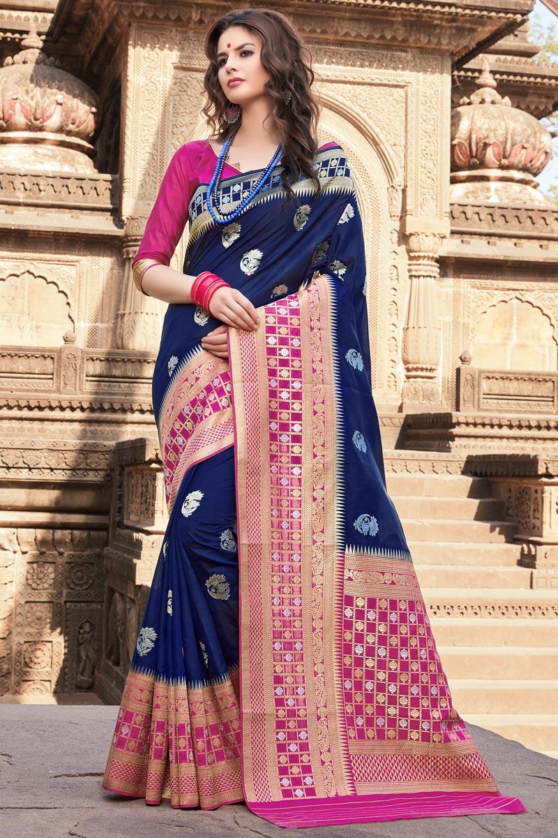 Traditional Wear Art Silk Navy Blue Weaving Work Saree