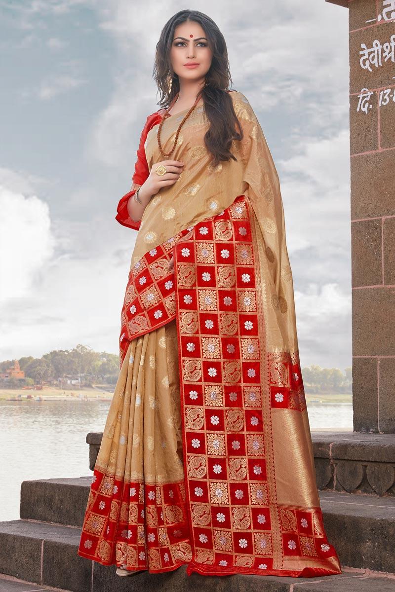 Weaving Work Beige Traditional Wear Art Silk Saree