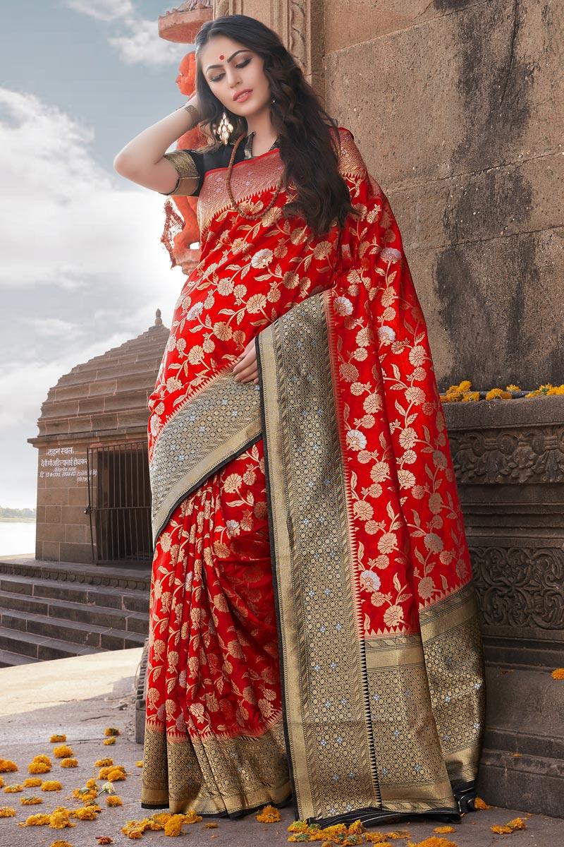 Traditional Wear Red Weaving Work Saree In Art Silk